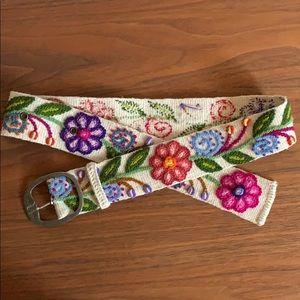 Alma Soul Boho Floral Hand Embroidered Belt Cream